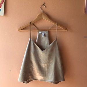 Forever 21 Strapless & Silky Gold Top